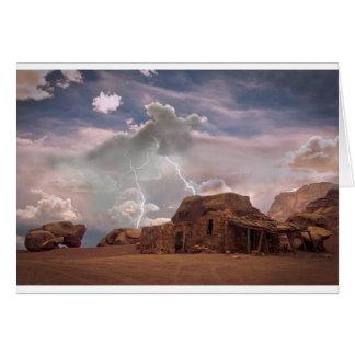 Cartes Paysage de tempête de foudre de désert de