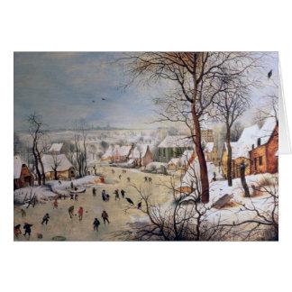 Cartes Paysage d'hiver avec Birdtrap, 1601