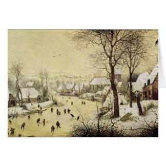 Cartes Paysage d'hiver avec des patineurs