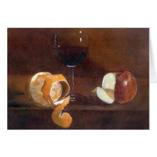 Cartes Peau d'orange, Apple et un verre de vin rouge