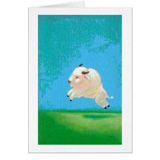 Cartes Peinture blanche de bison de saut heureux