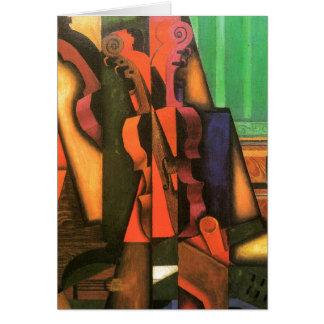 Cartes Peinture cubiste de violon et de guitare d'art par