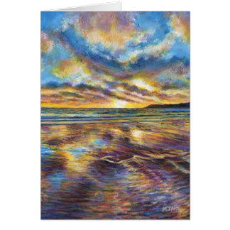 Cartes Peinture de coucher du soleil de plage de Gower