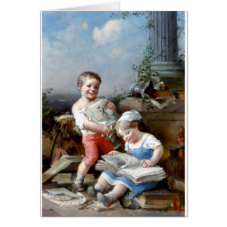 Cartes Peinture de livres de lecture de garçon et de
