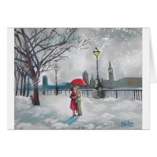 Cartes Peinture de Londres la Tamise Big Ben de neige