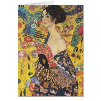 Cartes Peinture de Madame With Fan Art Nouveau de Gustav