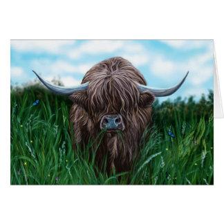 Cartes Peinture des montagnes écossaise de vache