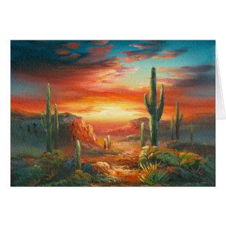 Cartes Peinture d'une peinture colorée de coucher du