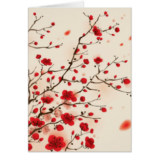 Cartes Peinture orientale de style, fleur de prune au