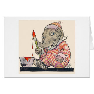Cartes Peintures d'éléphant d'Eddie (blanc à l'intérieur)