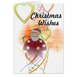 Cartes Père Noël et coeurs, souhaits de Noël