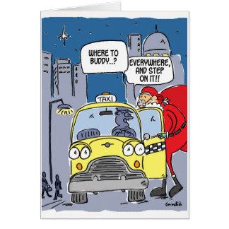 Cartes Père Noël grêle un taxi