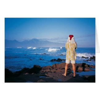 Cartes Père Noël inspecte des vagues sur Maui