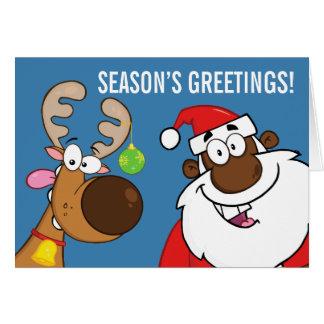 Cartes Père Noël noir avec le renne