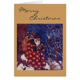 Cartes Père Noël se reposant sur un rondin de Milou
