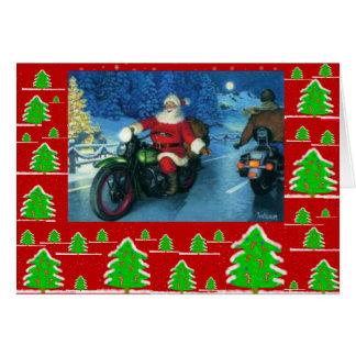 Cartes Père Noël sur une moto/arbres de chrstmas