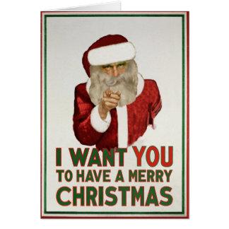 Cartes Père Noël veut que VOUS ayez un Joyeux Noël