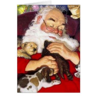 Cartes Père Noël vintage dormant avec des chiots