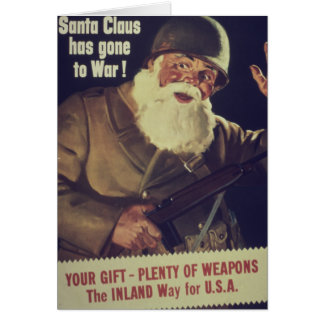 Cartes Père Noël vintage va à l'affiche de guerre