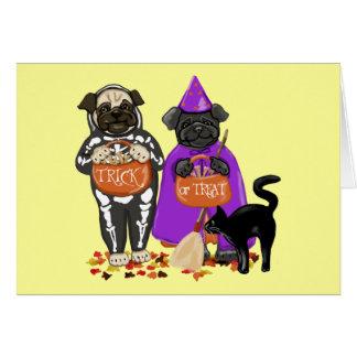 Cartes personnalisables de carlins de Halloween de