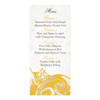 cartes personnalisées florales jaunes de menu