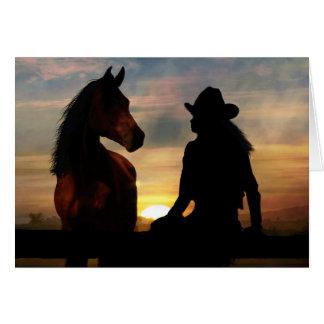 Cartes Perte de sympathie de cow-girl et de cheval de