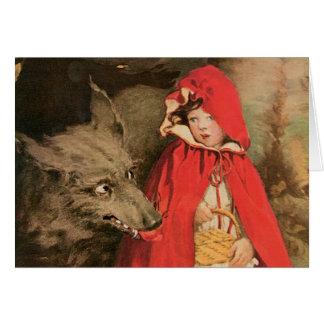 Cartes Petit capuchon rouge vintage et grand mauvais loup