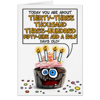 Cartes Petit gâteau de joyeux anniversaire - 91 années