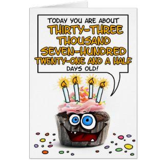 Cartes Petit gâteau de joyeux anniversaire - 92 années