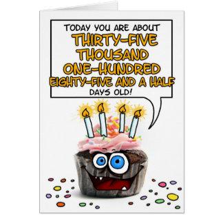 Cartes Petit gâteau de joyeux anniversaire - 96 années