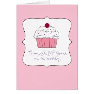 Cartes Petit gâteau rose, à mon ami d'AIW sur son