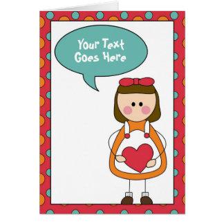 Cartes petite fille avec un coeur