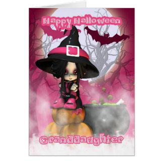 Cartes Petite-fille Halloween avec la sorcière de Girlie