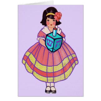 Cartes Petite fille heureuse de Hanoukka avec grand