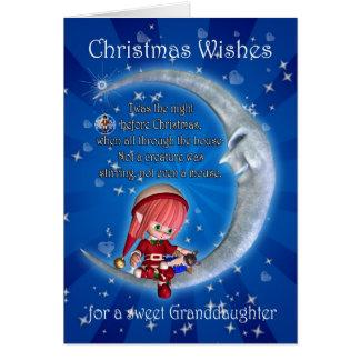 Cartes Petite-fille, nuit avant Noël avec l'elfe