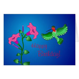 Cartes Pétunia de joyeux anniversaire avec le colibri