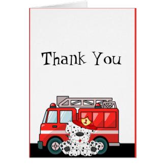 Cartes Peu de camion de pompiers rouge, anniversaire