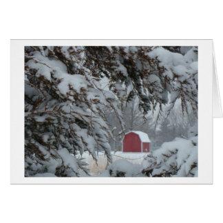 Cartes Peu de grange rouge encadrée par des branches de