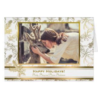 Cartes Photo de coutume de houx gravée par élégance d'or