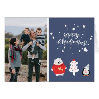Cartes Photo de famille bleue de Noël
