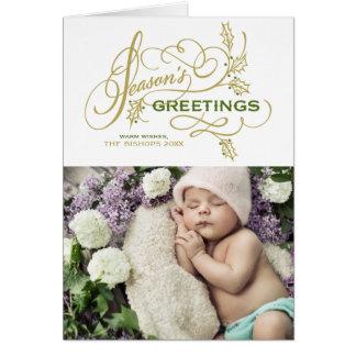 Cartes Photo élégante de vacances de Flourish de Bonnes