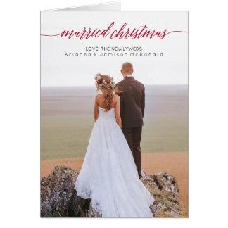 Cartes Photo mariée de nouveaux mariés de Noël pliée