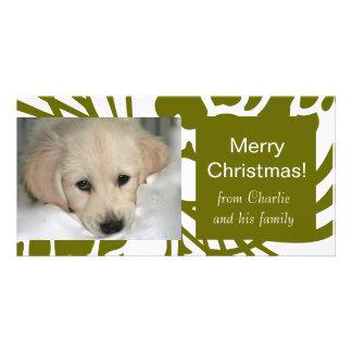 Cartes photos blancs verts élégants de Noël de chi Photocartes