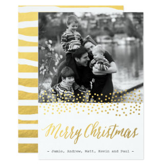 Cartes photos CHICS de confettis d'or de NOËL