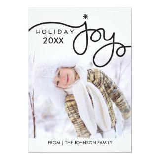 Cartes photos de joie de vacances - noir carton d'invitation  12,7 cm x 17,78 cm