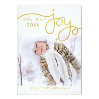 Cartes photos de joie de vacances - or carton d'invitation  12,7 cm x 17,78 cm