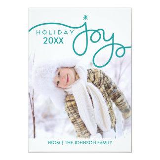 Cartes photos de joie de vacances - vert de Teal Carton D'invitation 12,7 Cm X 17,78 Cm