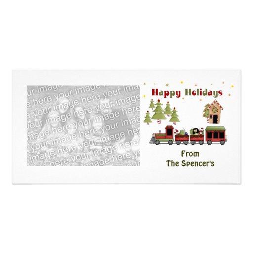 Cartes photos de vacances de train de Noël Photocartes Personnalisées