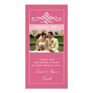 Cartes photos roses chics de Merci de mariage de F Photocarte Customisée