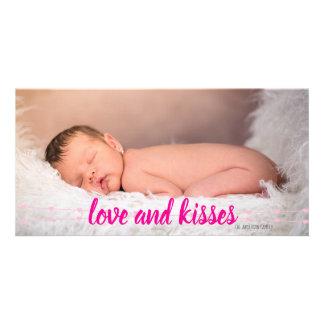 Cartes photos roses de Valentine de coeurs d'amour